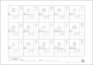 小学一年生の漢字3プリント1